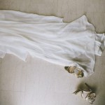 The wedding dress and shoes