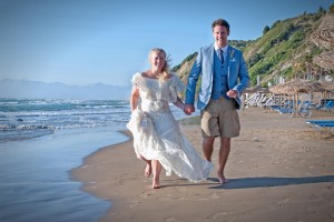 Married bliss on the beach, Corfu!