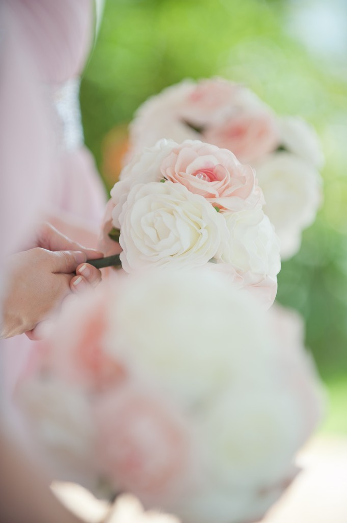 Baby pink and white wedding flowers