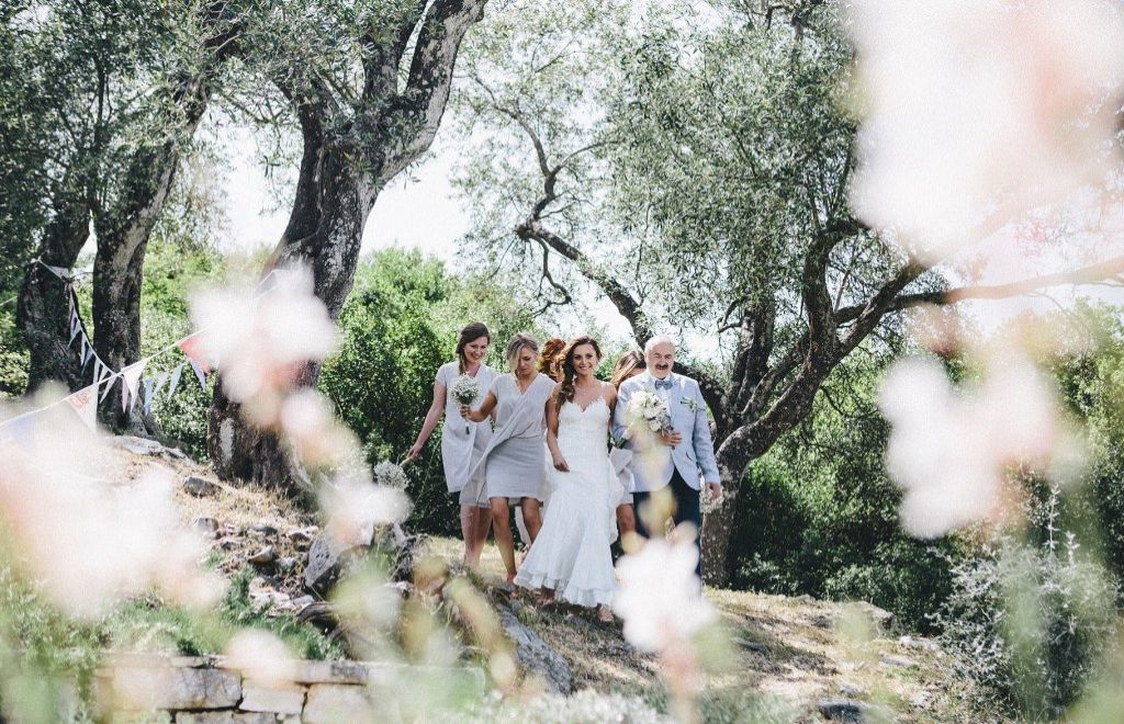 A private villa ceremony, then Taverna Agni